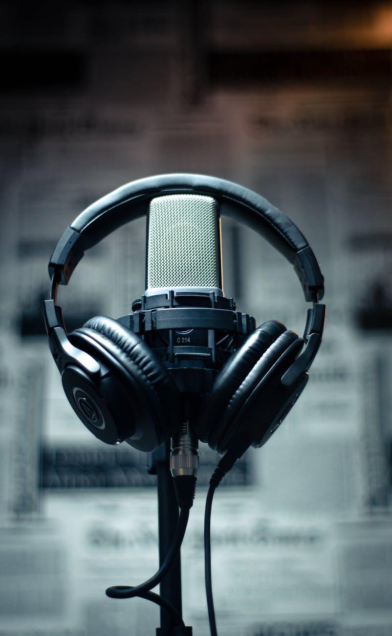 black headset on condenser microphone