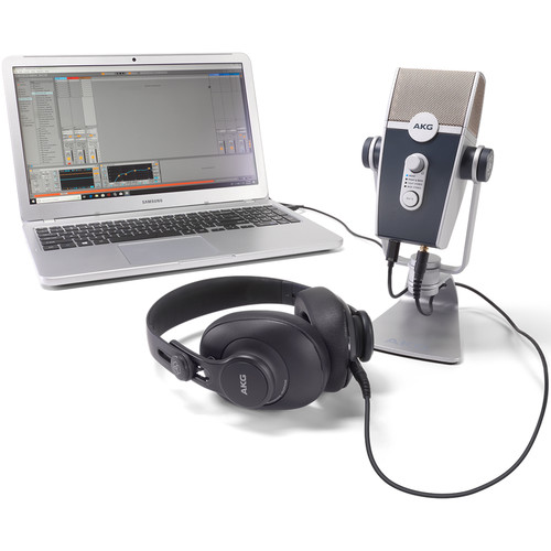 AKG Podcaster Essentials Lyra USB Microphone and AKG K371 Headphones